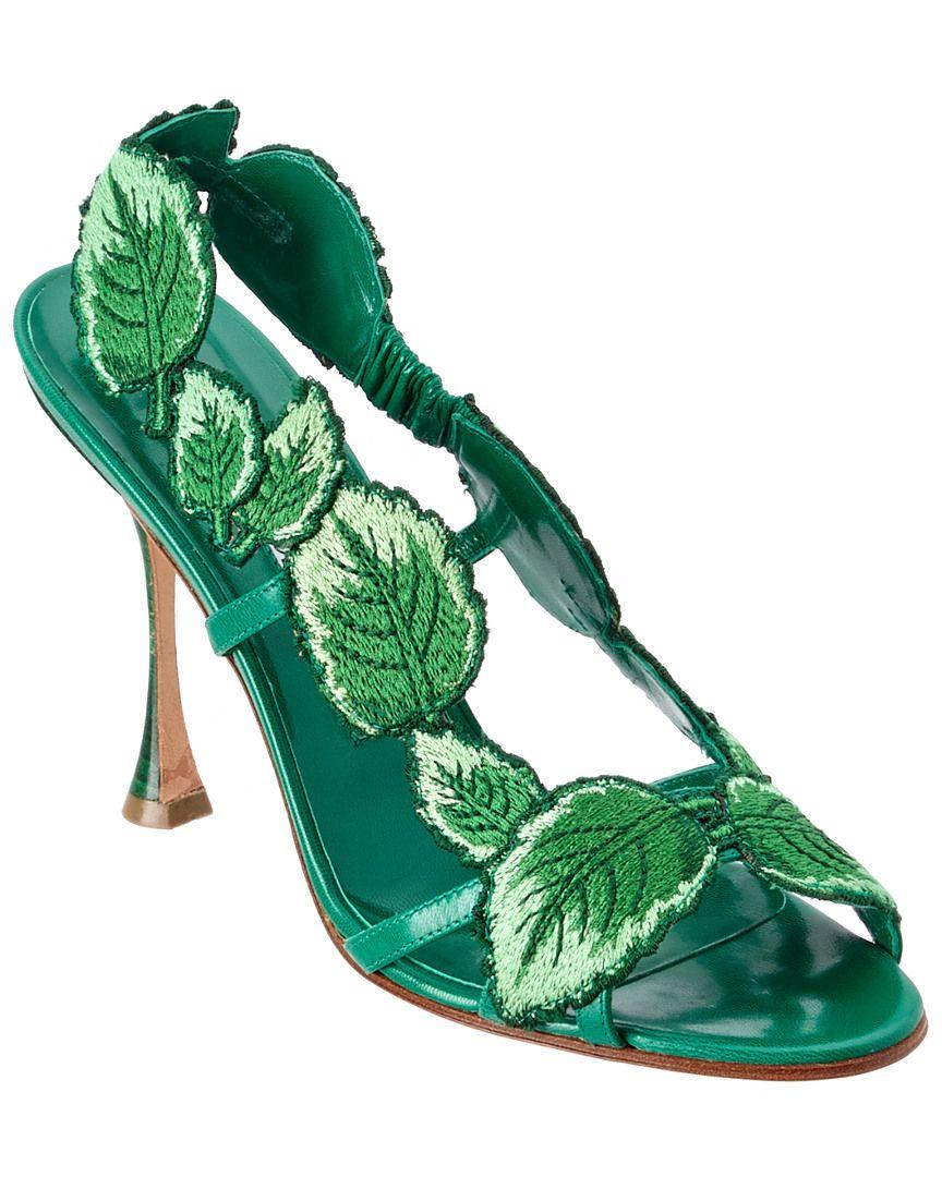 e4625fa6b7ca Manolo Blahnik 105 Climatida Leaf Embroidered Sandal is on Rue. Shop it now.