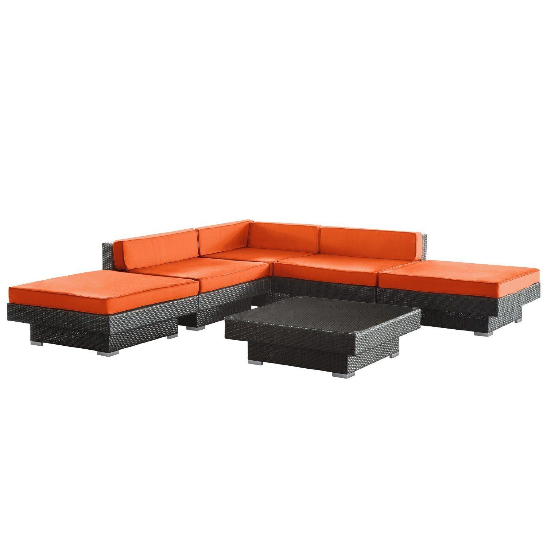 Best Amazon Com Lexmod Laguna Outdoor Wicker Patio 6 Piece Sectional Sofa Set In Espresso With 400 x 300