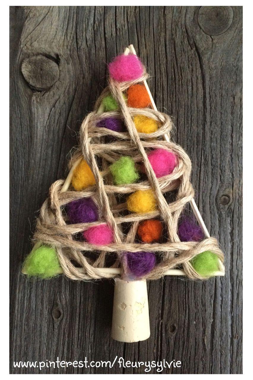 Boule De Noel Ficelle.Sapin De Noël Avec Pics à Brochettes Ficelle Et Boules De
