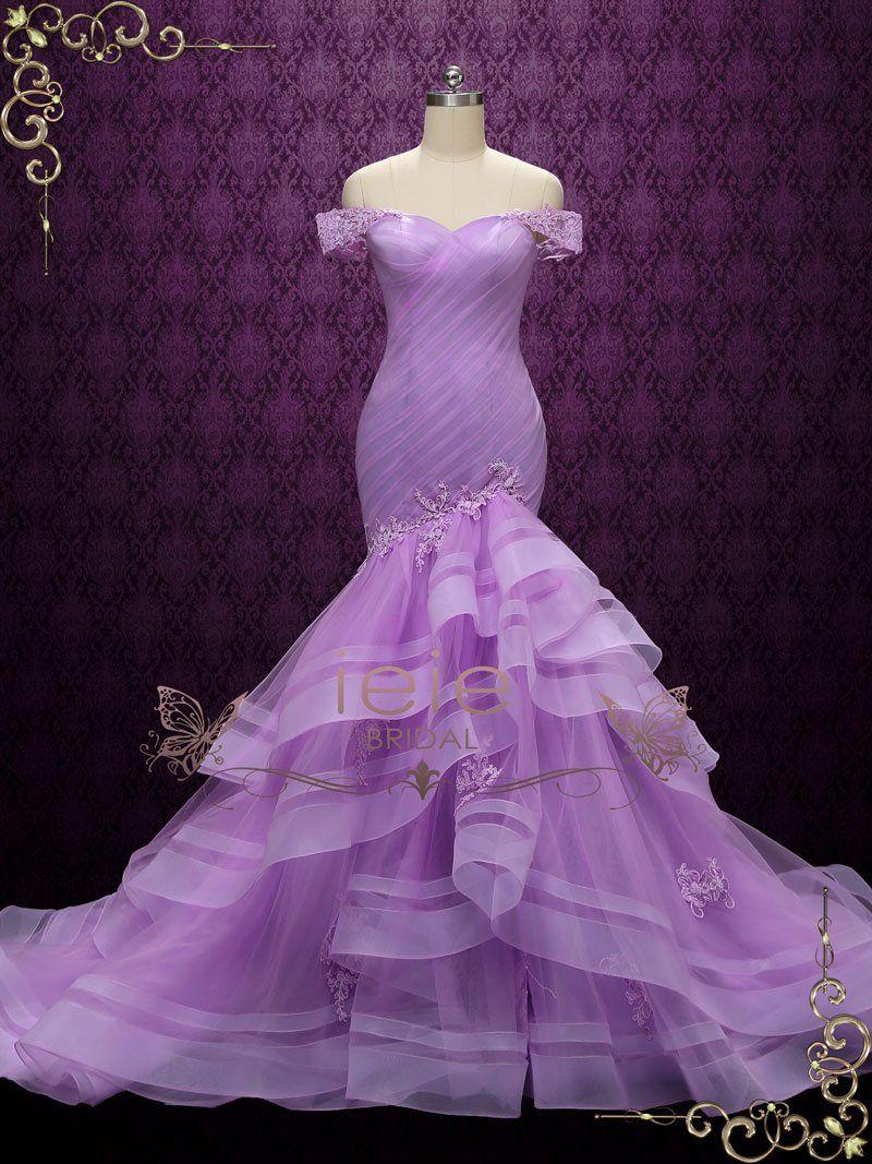 Purple Off Shoulder Mermaid Wedding Dress Lilac In 2021 Modest Wedding Dresses Ball Gown Purple Wedding Gown Mermaid Prom Dresses Lace [ 1067 x 800 Pixel ]