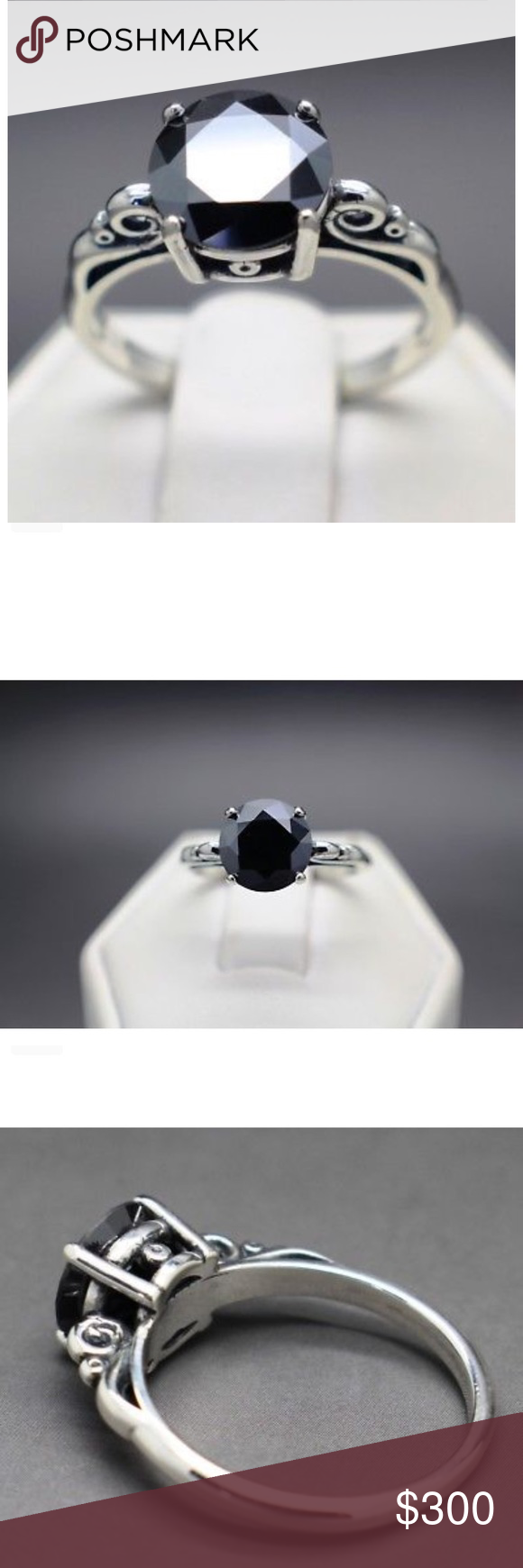1.48cts Black Natural Diamond Solitaire Ring 1.48cts 7
