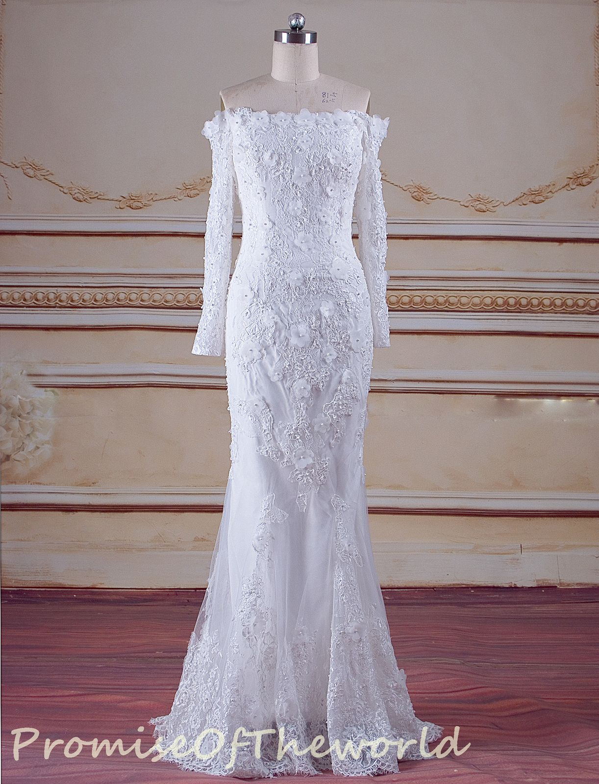 Mermaid wedding dresses with feather bottom  Lace ivory off shoulder long sleeves wedding dress with detachable