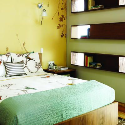 51 Great Ideas for Shelves | Bedrooms, Bedroom yellow and Teal throws