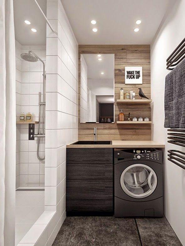 La Lavadora En El Bano The Washer In The Bathroom Bano Con Lavadora Cuartos De Banos Pequenos Banos Pequenos