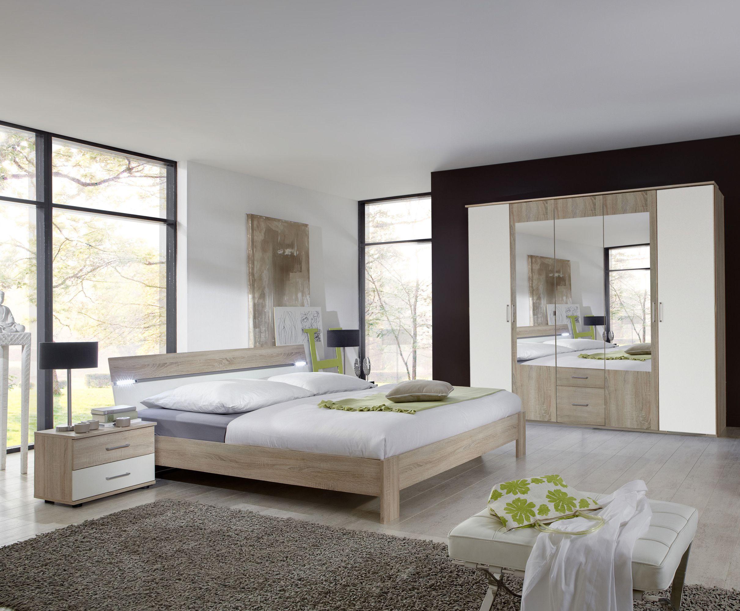 Schlafzimmer Mit Bett 180 X 200 Cm Eiche Sägerau/ Alpinweiss Woody  132 00194 Holz Modern Jetzt Bestellen Unter: ...