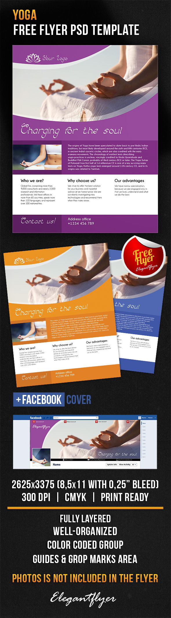 Yoga – Free Flyer PSD Template + Facebook Cover https://www ...