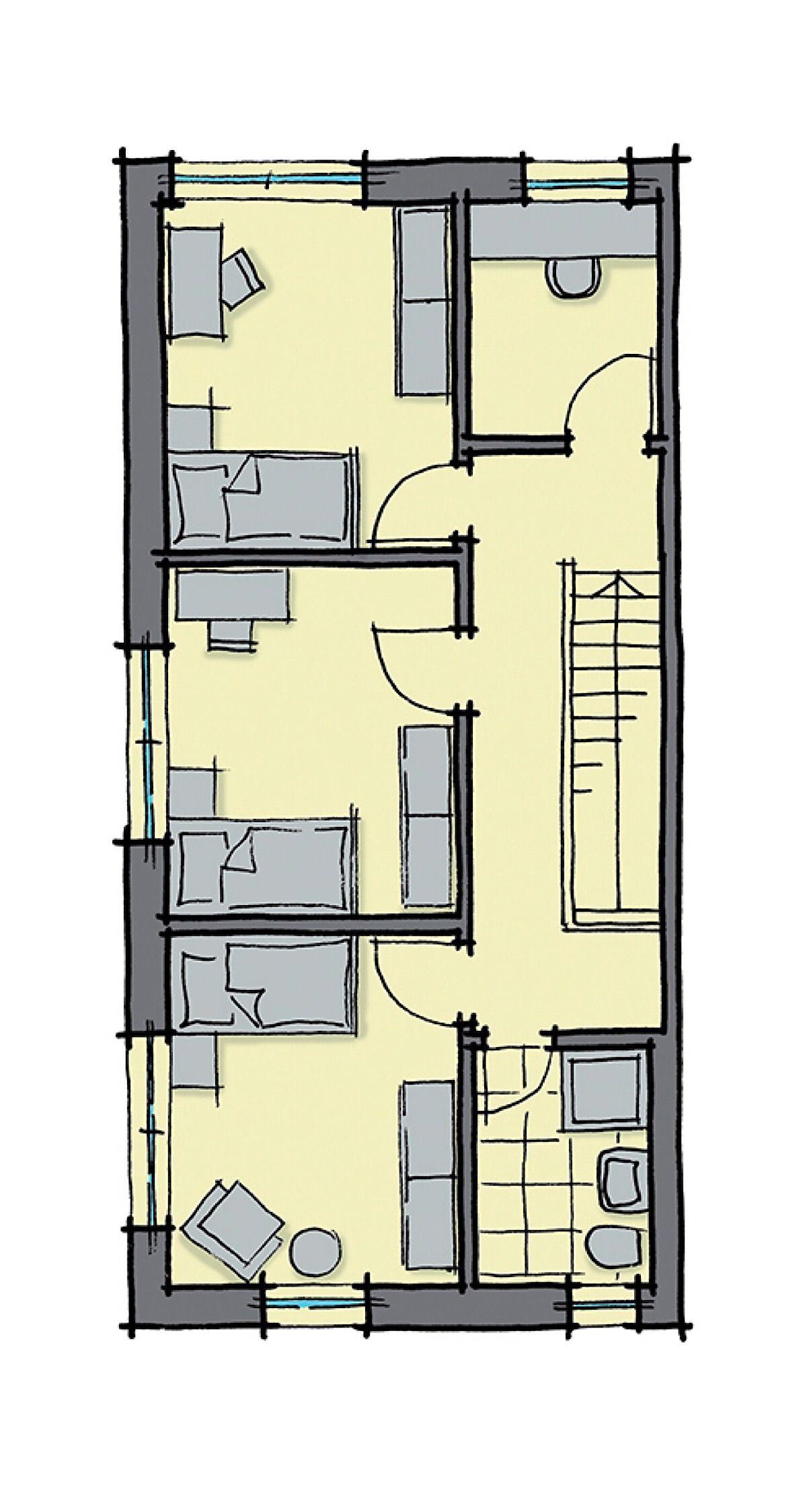 Doppelhaushälfte Grundriss Obergeschoss, 3 Kinderzimmer, Treppe ...