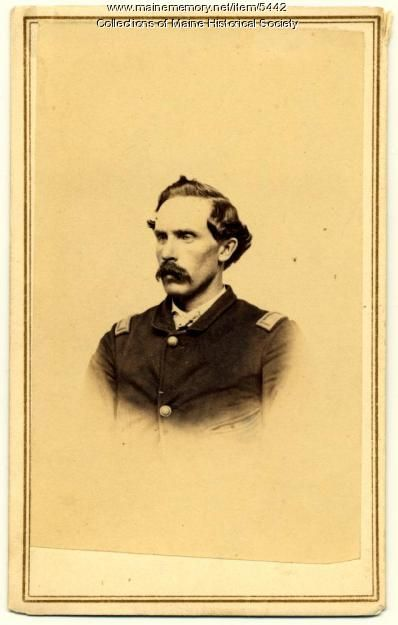 Jonathan K. Brooks (1837-1909) of Bowdoinham was 24 when he mustered into Co. C of the 1st Maine Cavalry as a corporal on October 20, 1861. He was promoted to commissary sergeant in 1863 and commissioned as 2nd lieutenant in June 1863.  Brooks was wounded at Middleburg on June 19, 1863. he was commissioned a 1st lieutenant in November 1864 and was in command of the company starting in September 1864 until the company was mustered out on August 1, 1865.