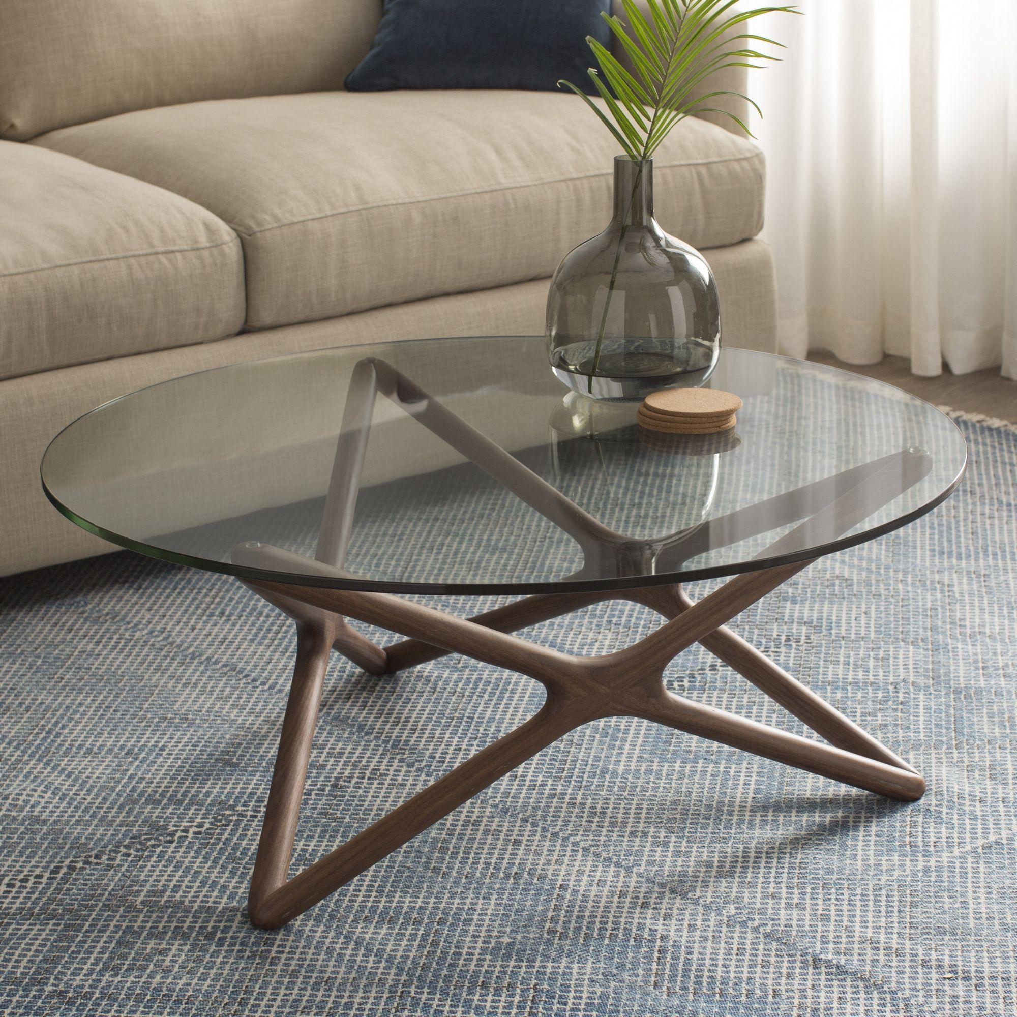 Meja Tamu Bundar Minimalis Bahan Kaca Round Glass Coffee Table Coffee Table Modern Glass Coffee Table