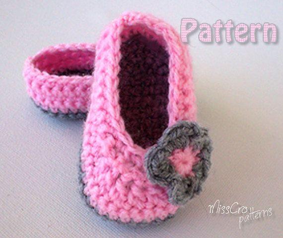 Crochet Baby booties Crochet pattern ballet shoes by MissCro ...