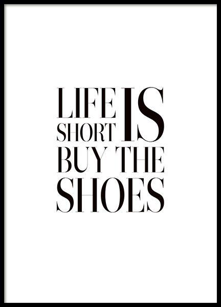 Leuke poster met tekst met quote over schoenen - Woonkamer van der ...