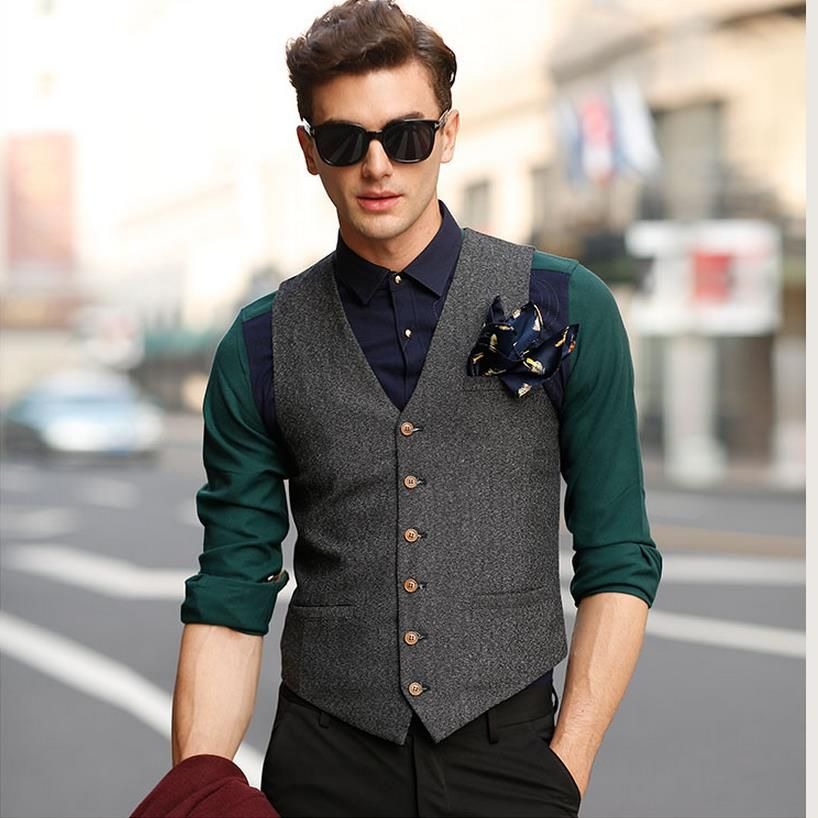 a73c1dc081a Suit Vest Men Beige Gray Brown Vintage Tweed British Sleeveless Jackets  Casual Spring Autumn Plus Size Mens Waistcoat Brand New