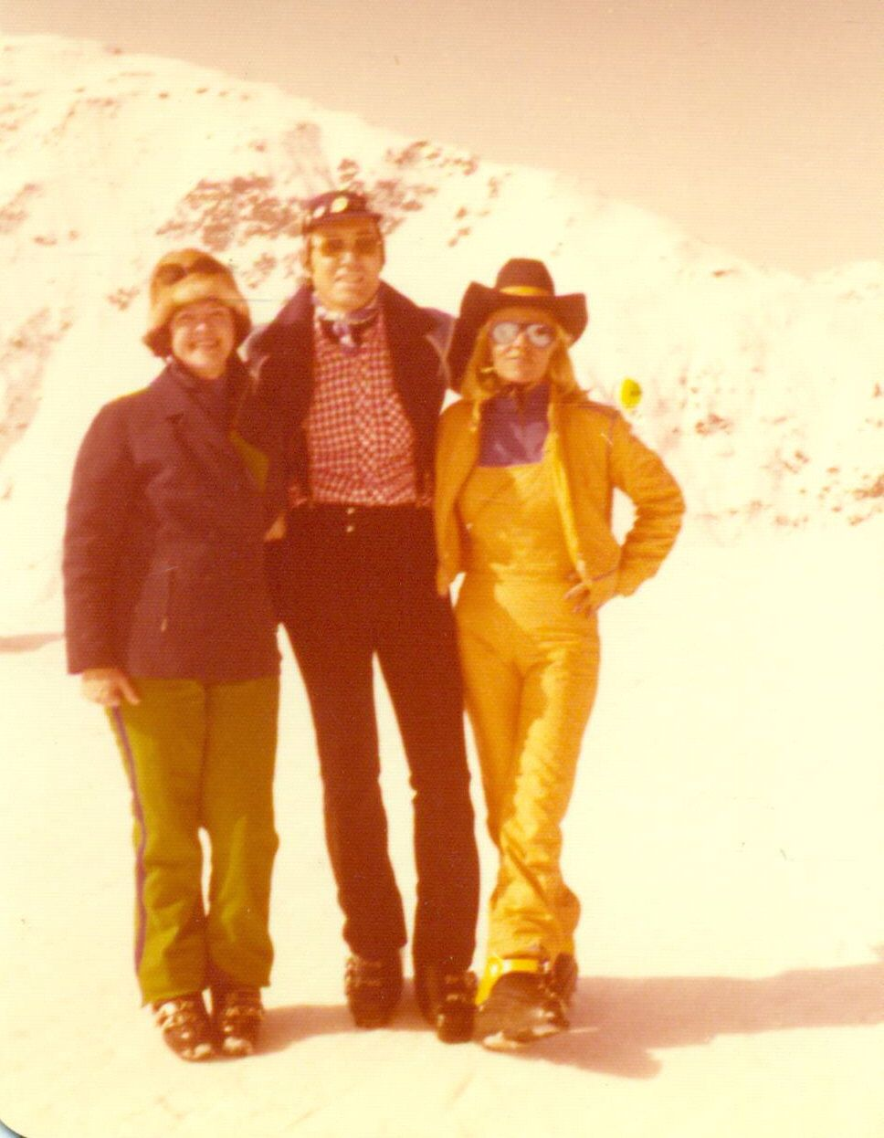 1970s Ski Fashions Woman Yellow Snow Suit Cowboy Hat Man Red Plaid ...