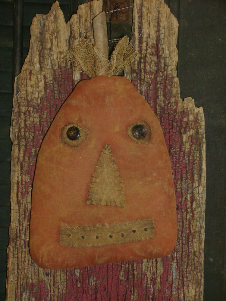 Primitive Grungy Halloween Funny Face Pumpkin Doll~ Ro's Cluttered Attic
