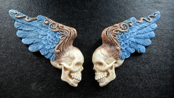 "Porcelain ""Rock of Ages"" Winged Skulls by Laura Mears"