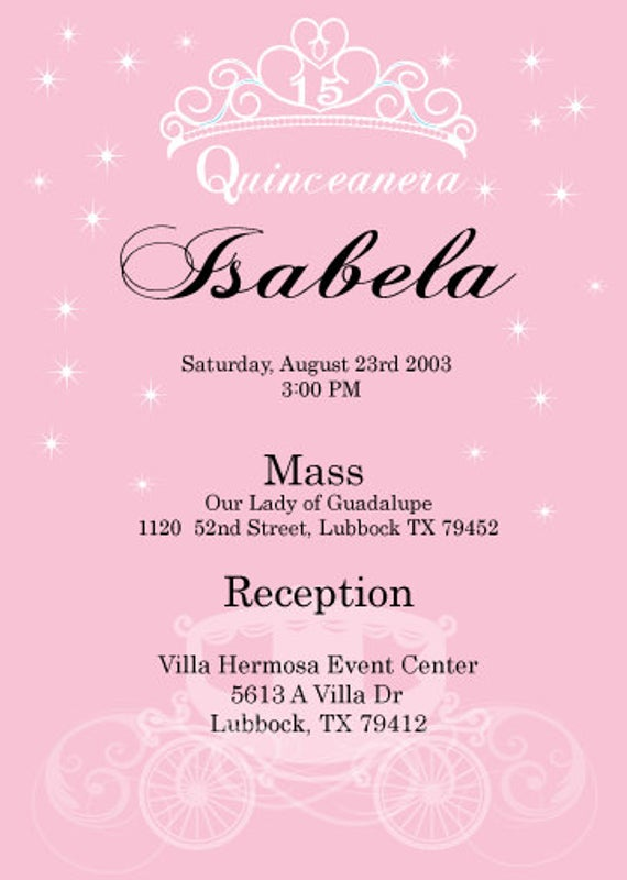 Invitations Templates For Quinceaneras In Spanish 9 Templates Example Templates Example Invitation Template Invitations Invitation Maker