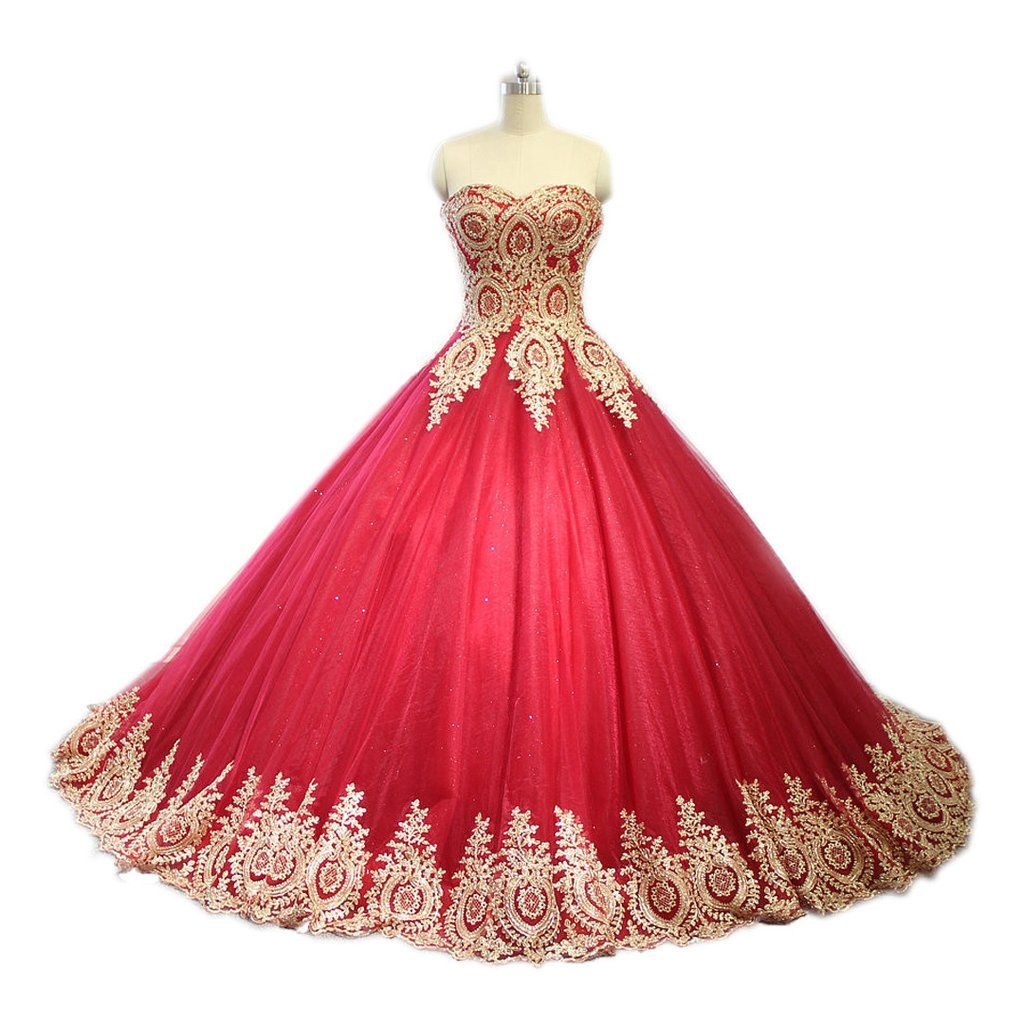 Red ball gown wedding dress  Gold Lace Sweetheart Tulle Ball Gowns Quinceanera DressesJD