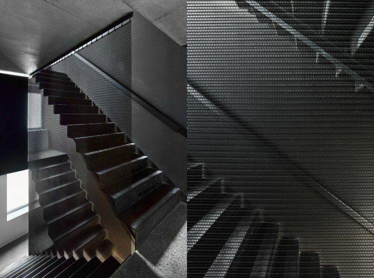 Nachhaltiges Bauen Wenig Fläche Treppe Gitter Schwarz #architektur