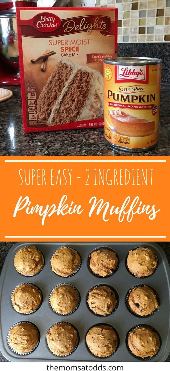 2 Ingredient Pumpkin Muffins - The Moms At Odds