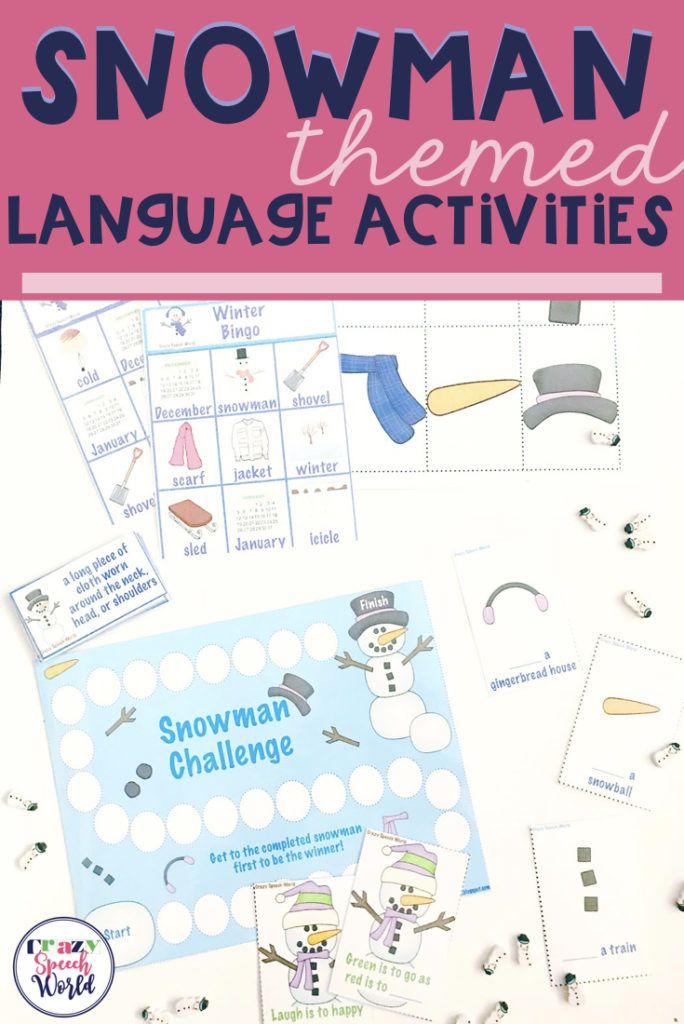 Snowman Themed Language Activities for Speech Therapy!  This download is designed for elementary students working on verbs, vocabulary, and analogies.