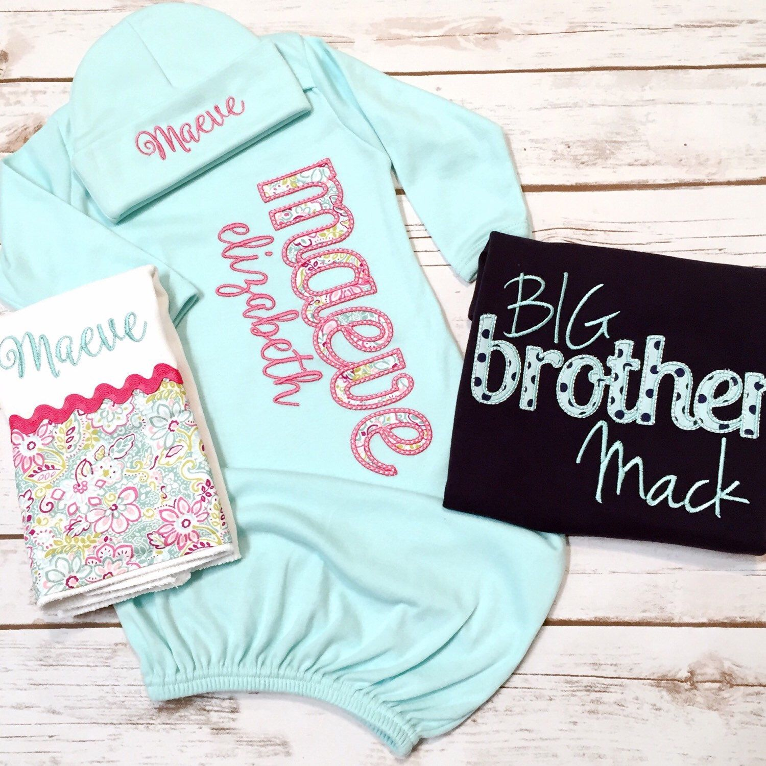 e9b7dab5ebca Baby Girl Gifts · Gender Reveal · Outfits · Sibling · Big Brother Shirt - Little  Sister Gown Set MINT/NAVY - Gender Reveal Set -
