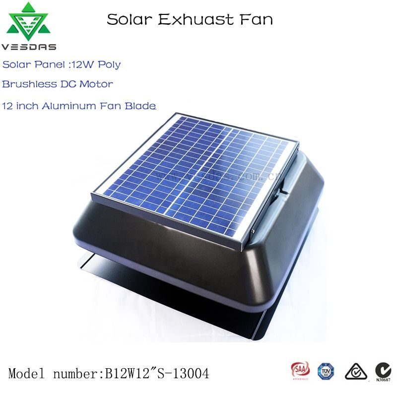 Vesdas Brushless 12w 12 Inch With Temperature Controller Square Shape Solar Attic Vent Built In Solar Panel Solar Exha Solar Attic Vent Exhaust Fan Attic Vents