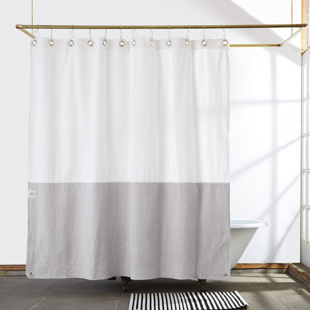 Orient Driftwood Canvas Color Blocked Shower Curtain Neutral