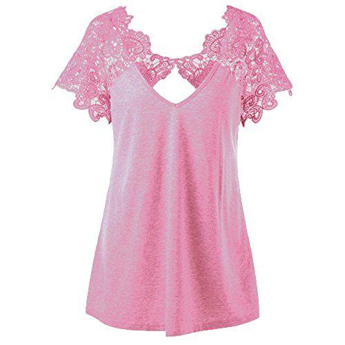 Kangrunmy Femmes Blouse Chic Manches Courtes Dentelle Col V Chemise Mode T-Shirt  Casual Tunique Top Loose Chemisier Elegant RéTro Vintage Plage Haut Sport  ... 3cb2cd1dcf5