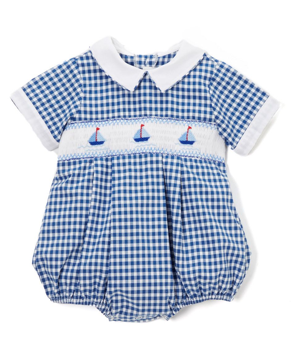6ac34fce5154 Take a look at this Fantaisie Bebes Blue Gingham Sailor Smocked Bubble  Romper - Infant today!