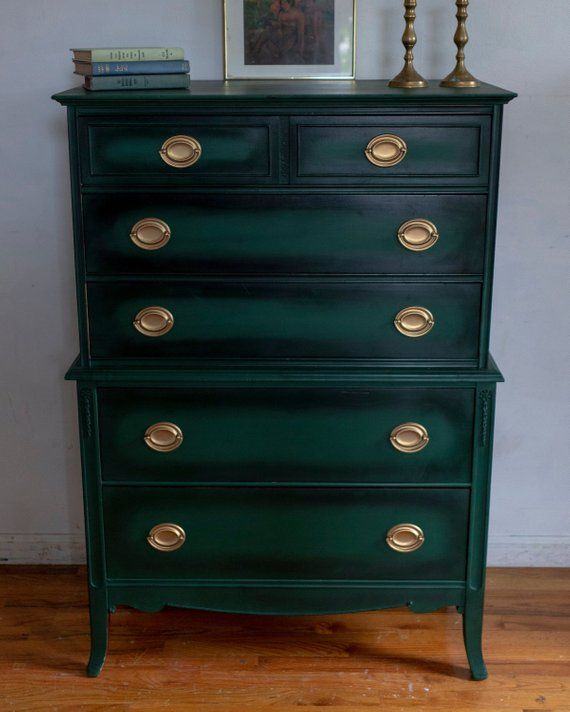 SOLD! Green Antique Dresser, Forest Green Chest, Vintage