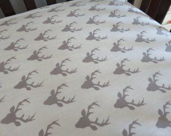 Deer Crib Bedding, Crib Sheet or Changing Pad Cover, Stag Bedding, Deer Head Bedding, Woodland Bedding, Grey Crib Sheet