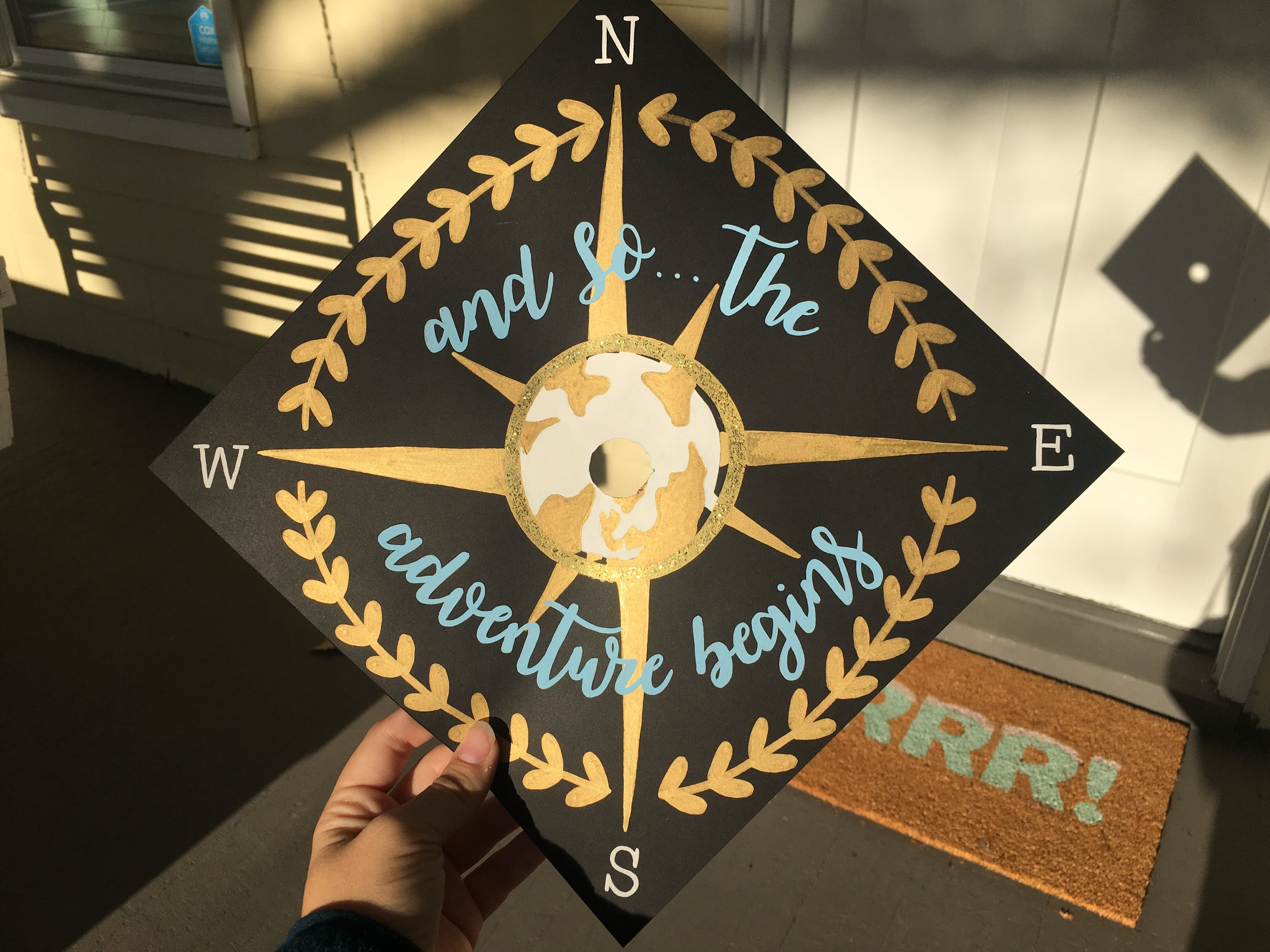 And So The Adventure Begins Compass Painted Graduation Cap Topper