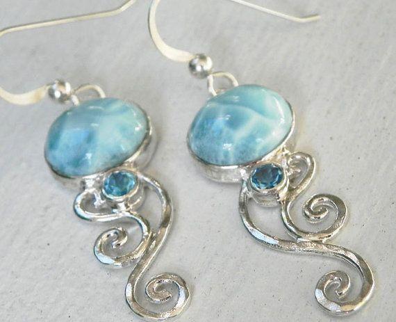 Larimar Earrings Sterling Silver Swirl By Fantaseajewelry