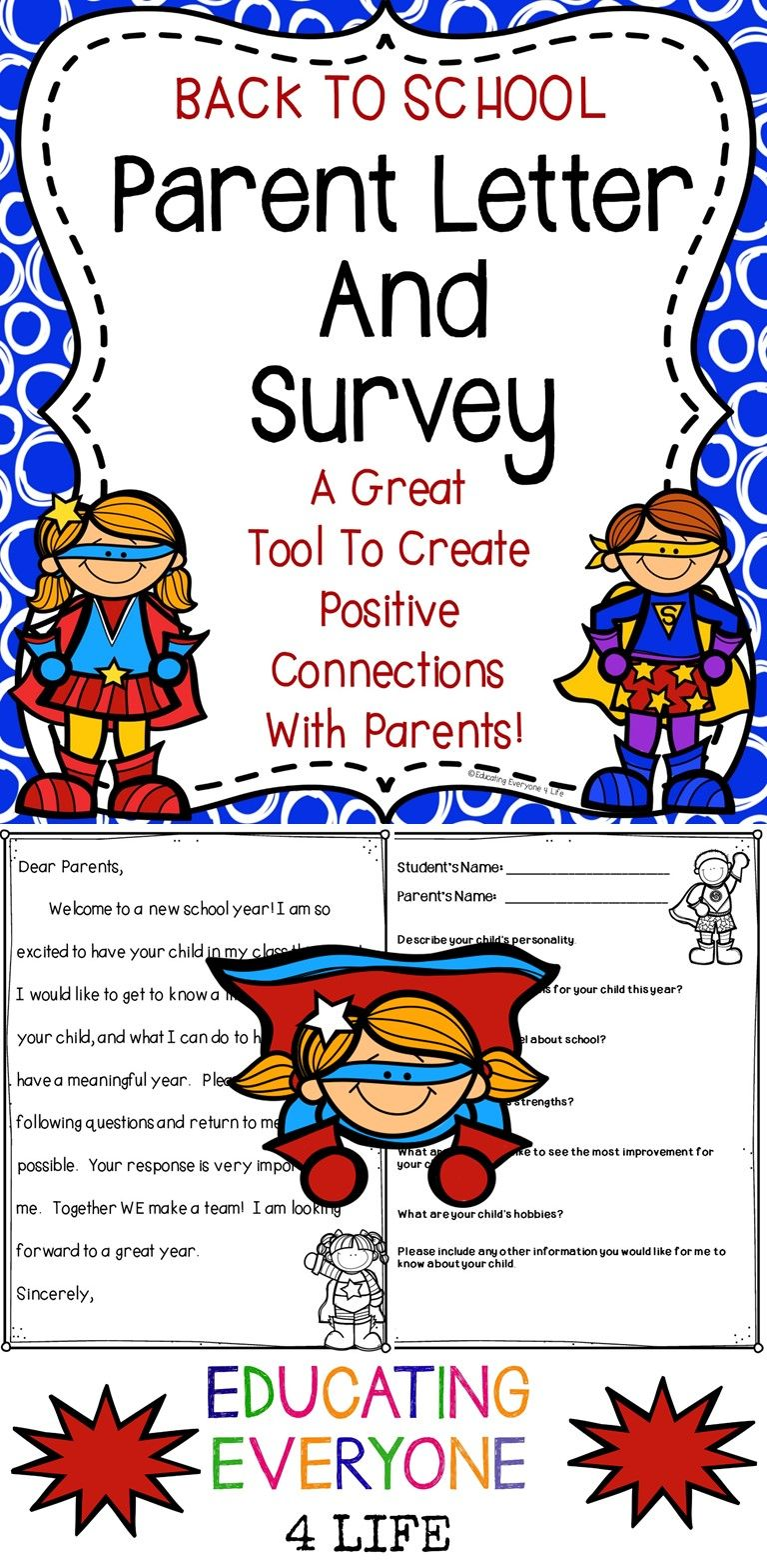 back to school parent letter and survey superhero theme