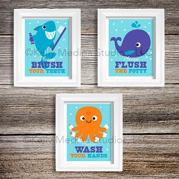 Sea Animal Bathroom Nursery Art Print Set, 8x10, Kids Bathroom Decor