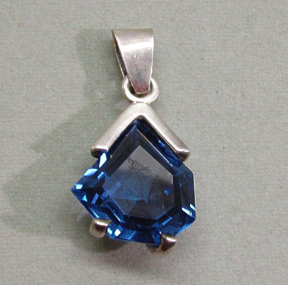 Modernist Mexican Sterling Silver Blue Spinel Pendant