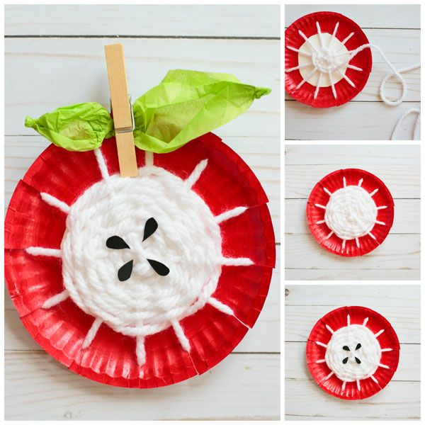 Paper Plate Yarn Weaving Apple Craft - Simple Fall Craft For Kids