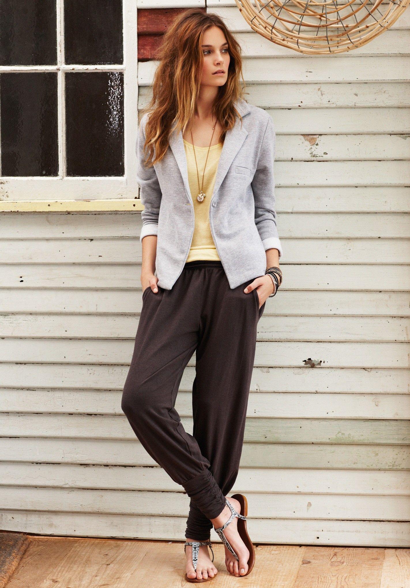 Charcoal Marl Long Harem Trousers | Trousers & Leggings | hush | hush-uk.com Love her jacket! So cute.