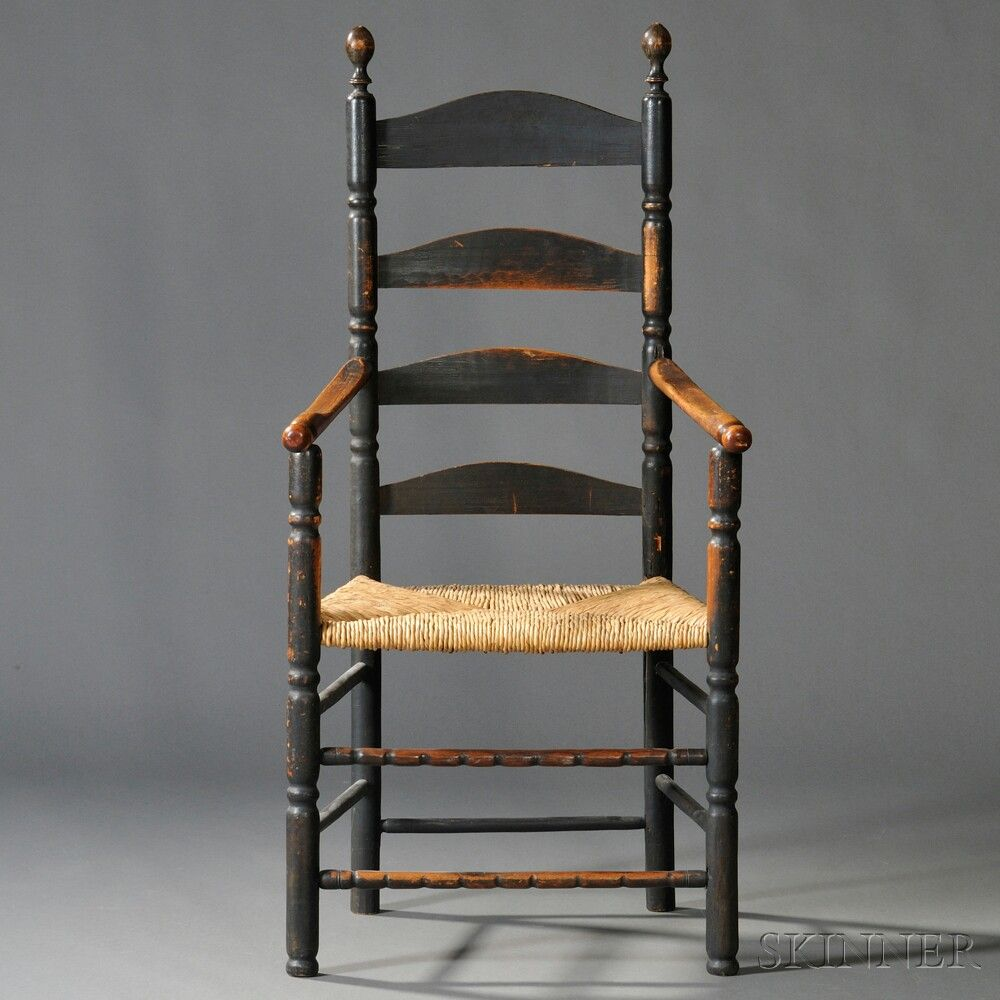 18th C Ladderback Armchair Skinnerinc Com Antique Chairs Old