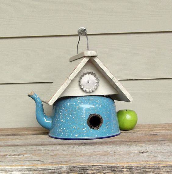 Pin by Karen Bellandi on Birdhouses | Pinterest | Bird houses ... Tea Pot Bird House Designs on porcelain bird houses, spoon bird houses, tree bird houses, coffee bird houses, book bird houses, kettle bird houses, watering can bird houses, basket bird houses, flower bird houses, christmas bird houses, clock bird houses, tea cup bird feeder poem, really easy bird houses, easy to make bird houses, silver bird houses, cream bird houses, teacup bird houses, vintage bird houses, pan bird houses, box bird houses,