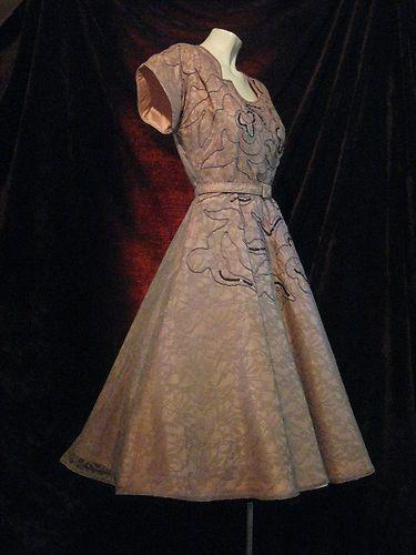 Gorgeous Vintage 1940's 50's Soutache Lace Pink Cocktail Party Dress | eBay