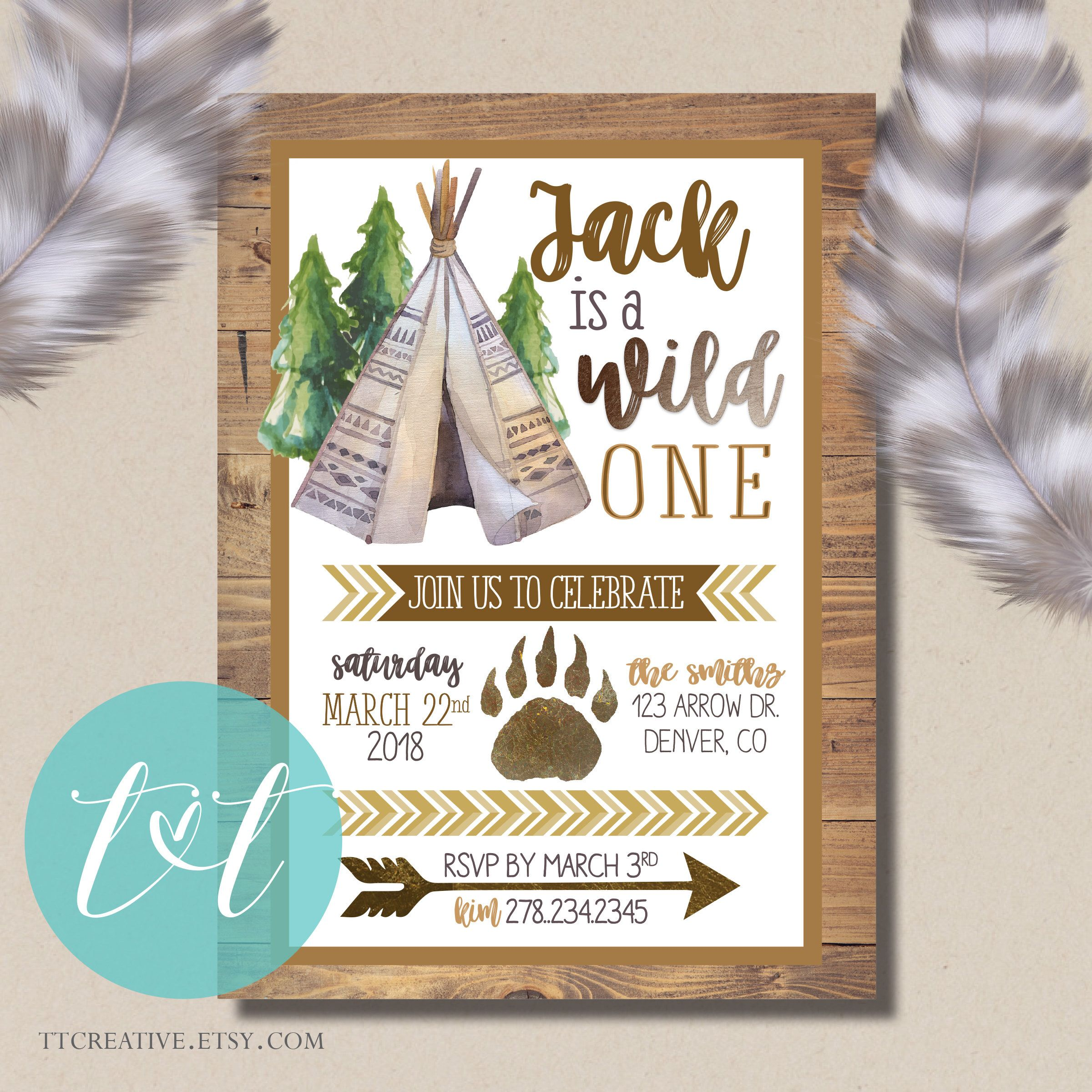 Wild One Boy Birthday Invite Tribal Boho Teepee 1st 1stbirthdayinvite Wildone Wildonebirthday