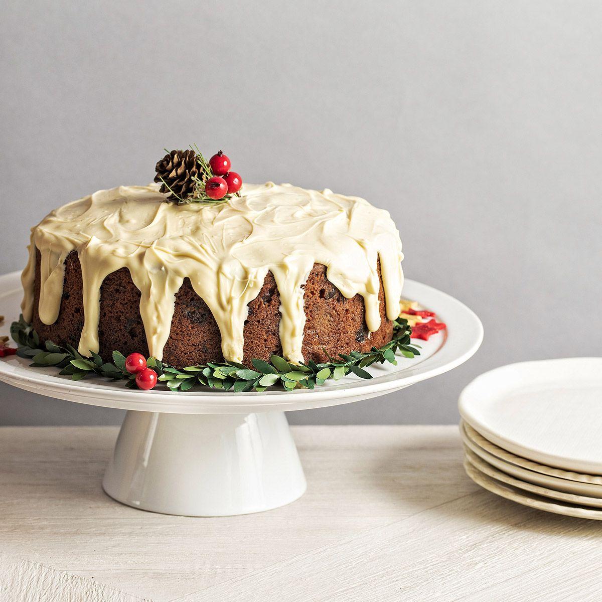 Cranberry almond white chocolate christmas cake