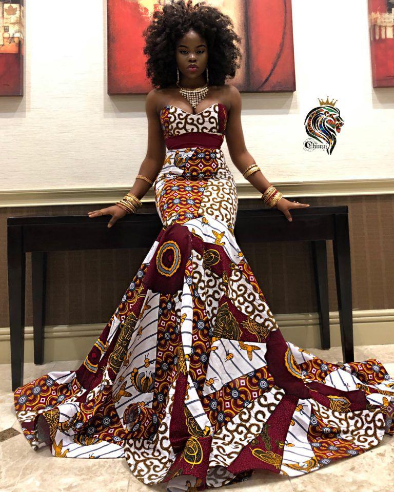 Dashki Fabric African Fashion Ankara Kitenge African: Queen Amaka Women's Mermaid Dress In African Ankara