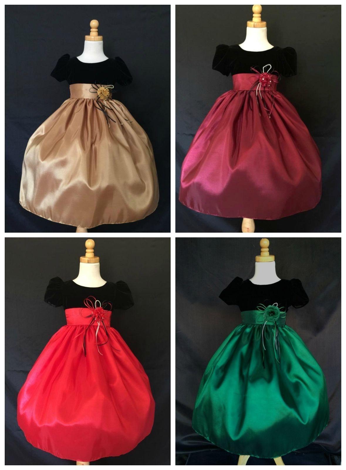 Christmas Fall Wedding Toddler Girl Pageant Recital Velvet Dress #32