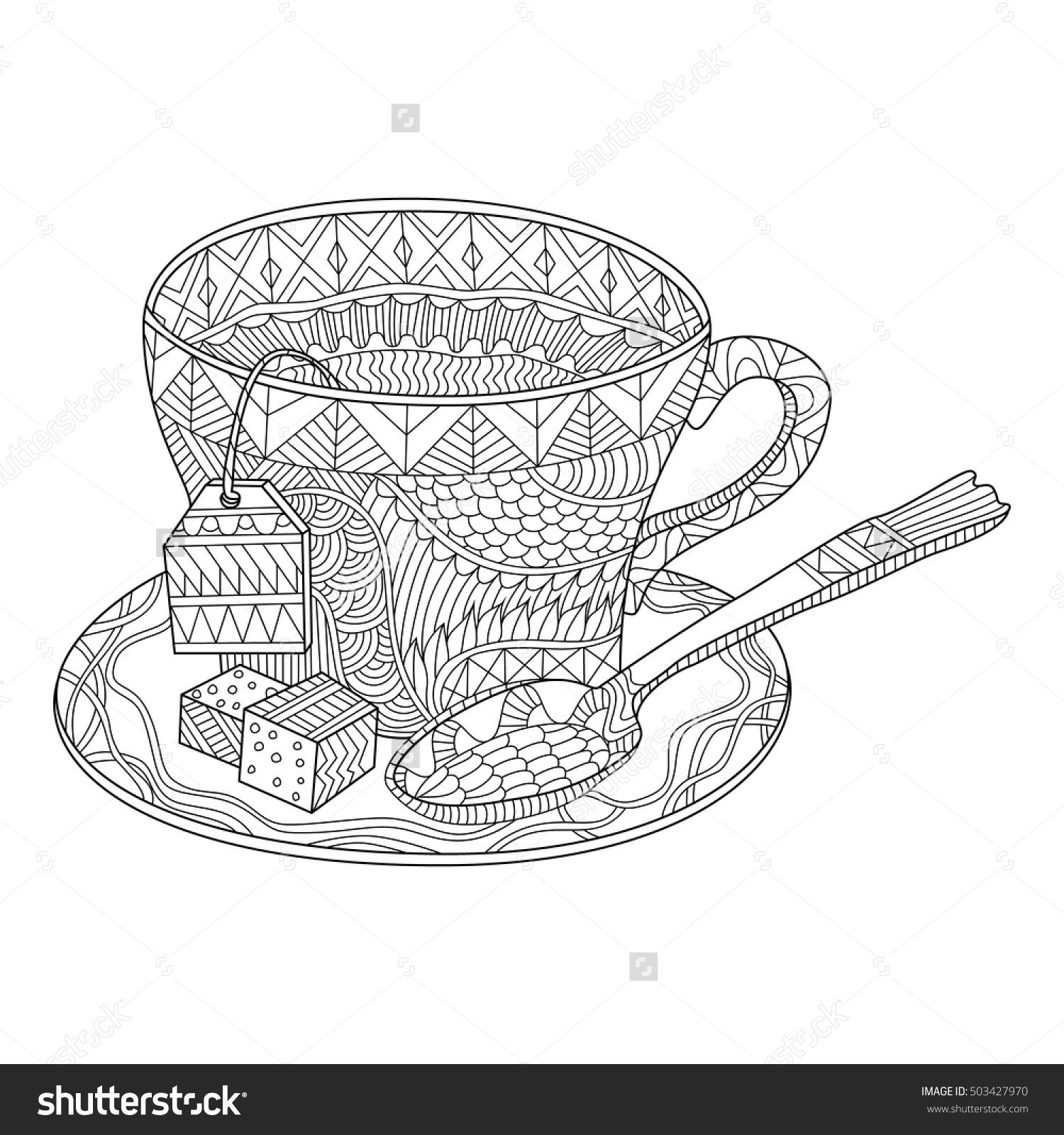 Tea Cup Vector Illustration Coloring Page Coloring Pages Tea Cups Vector Illustration