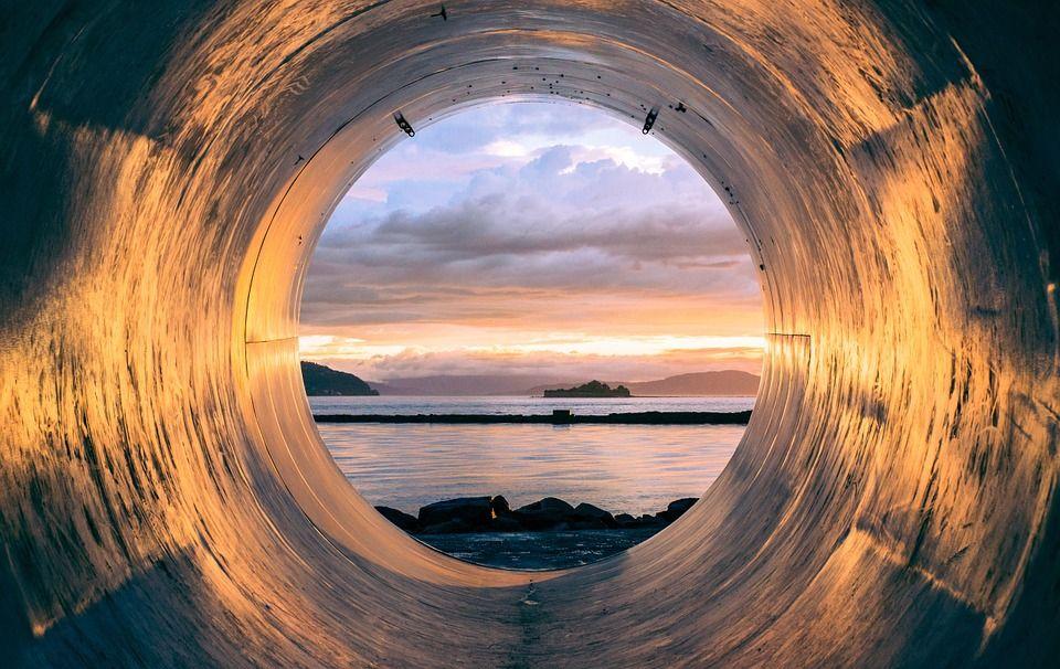 Tubo, Tubulação, Vista, Oceano, Mar, Água, Pôr Do Sol