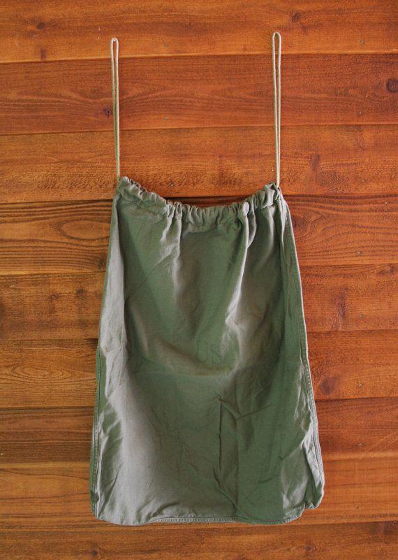 Vintage Khaki Military Laundry Bag Upcycle By Vintagesupplyco