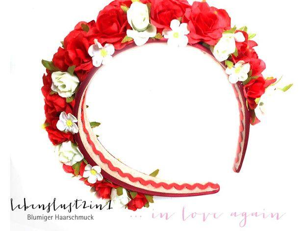 Rote Sünde - opulenter Dirndl - Haarreif mit wunderschönen Rosen - Für sinnliche Wiesn-Mädchen bei Parties, Festen und Oktoberfest auch für Hippie-Mädchen und zum traditionellen Midsommar...