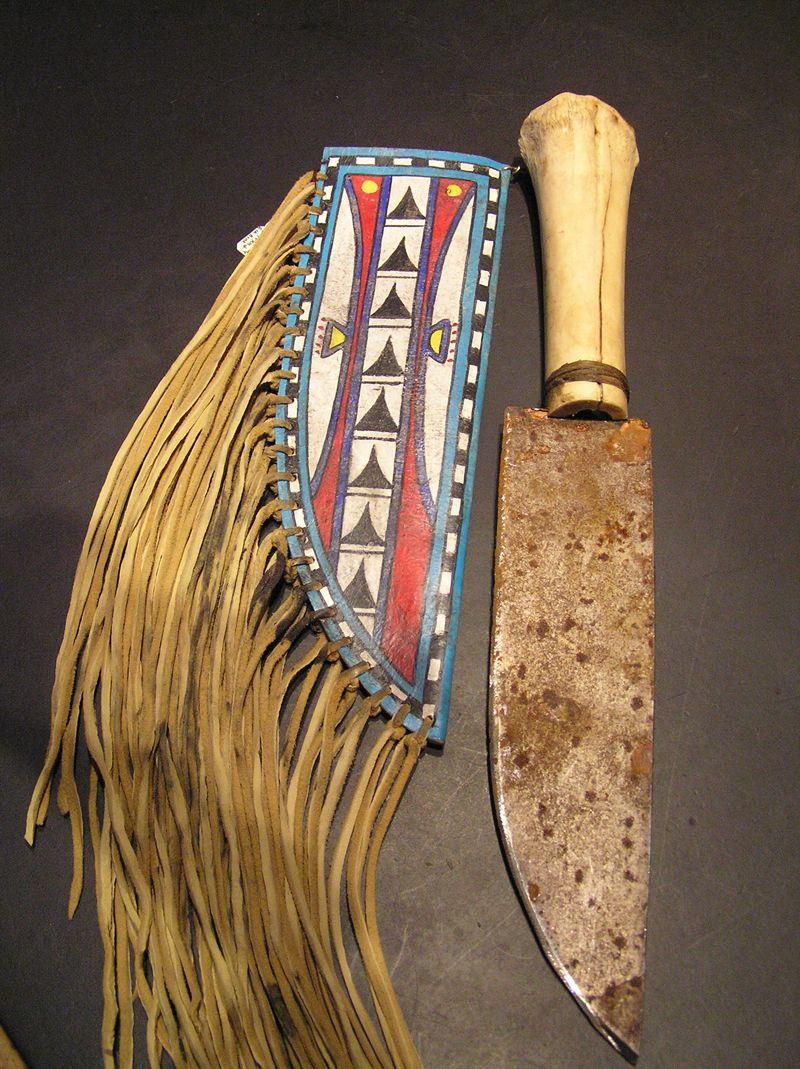 Apache Tribe Artifacts With Buckskin Sheath And